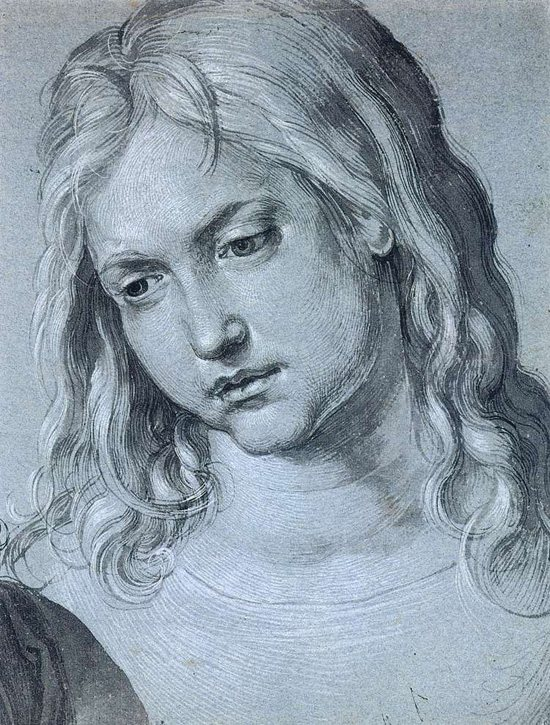 Head of 12-year-old Christ by Albrecht Durer, drawing, 1506.