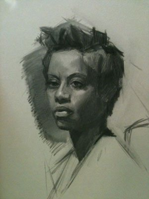 Portrait drawing by Monica Bean, the first stage.