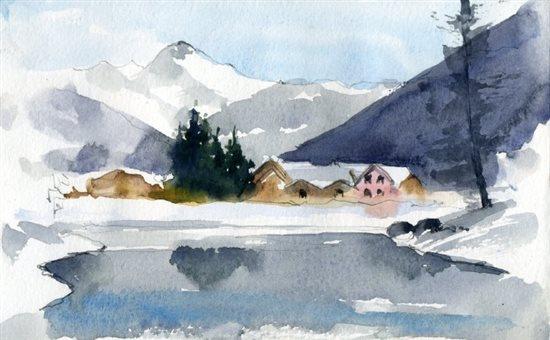 winter plein air watercolor painting