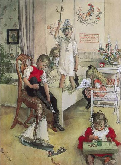 There is nothing that warms my heart than seeing the little ones in my life painting or drawing. It makes me think, maybe I am seeing the next generation's great artists in action. And I had a little something to do with it? Wow! (Christmas Morning by Carl Larsson, 1894.)