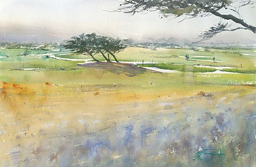Pebble Beach, California I by Keiko Tanabe, watercolor on paper, 14 1/4 x 21 1/2.