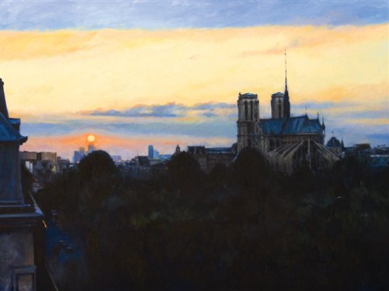 Fading Sun Over Notre Dame by Keith Wicks, 2006, oil painting, 72 x 96. Private collection.