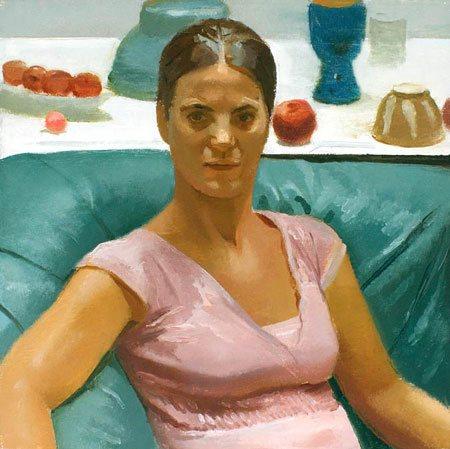 Portrait of Laura Borneman by Scott Noel, oil on linen, 20 x 20.