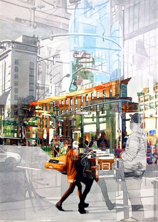 Apple NYC Inside & Out by Robin Erickson, watercolor painting.