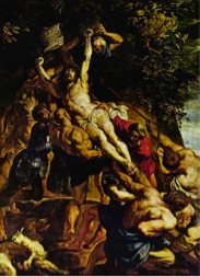The Raising of the Cross by Rubens, oil on canvas, 1610.