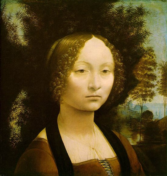 Portrait of Ginevra di Benci by Leonardo da Vinci, 1474-1476, oil painting on wood, 16.5 x 14.5.
