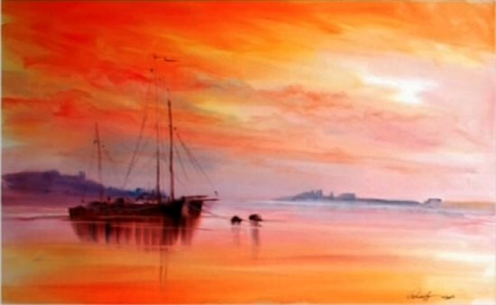 Vibrant sunset watercolor painting by Arnold Lowrey.