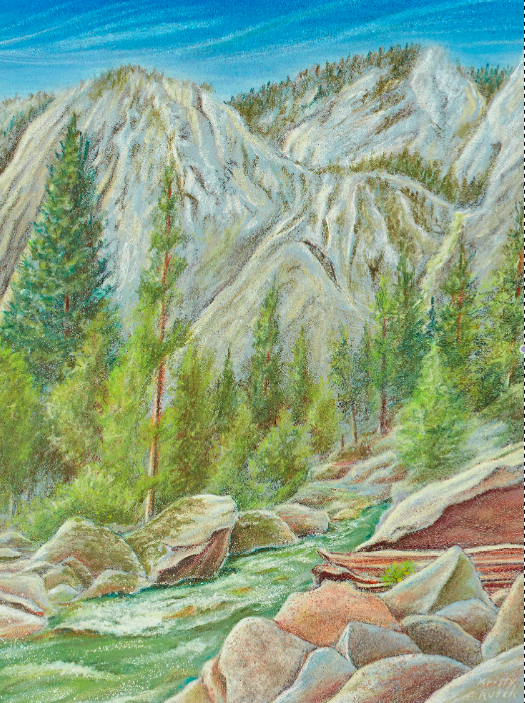 Colored pencil landscape by Kristy Kuch.