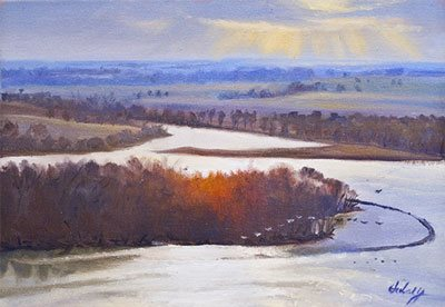 Above the Mississippi at Principia by John Hulsey, 9 x 12, oil painting.