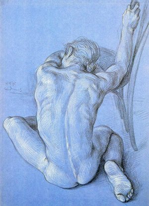 Nude Male by Paul Cadmus, drawing, 1995.