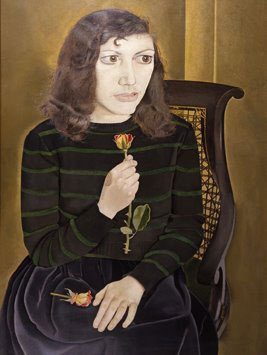Lucian Freud is a modern master, and one who uses his ample drawing skills to create works that intend to make viewers uncomfortable and slightly disturbed. The disegno of Girl with Roses lies in the variety of texture and pattern presented and how the tight composition has a tenseness to it that seems to push out to every corner of the canvas.