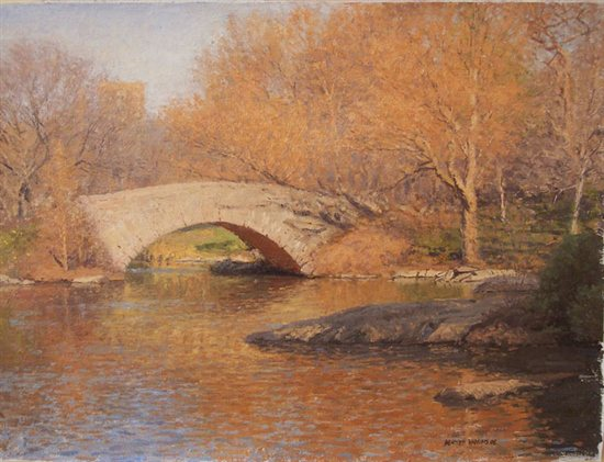 Study for Gapstow Bridge in Sunlight by Bennett Vadnais, oil on canvas, landscape painting, 12 x 16, 2007.