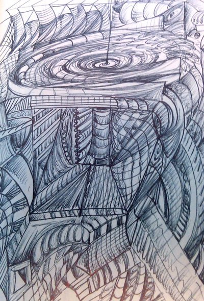 Doodle by Ellen Maidman-Tanner, 2011, ink drawing.