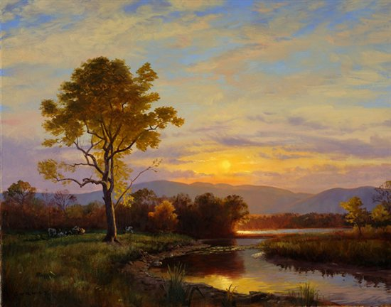 Sunset over the Catskills by James Gurney, oil painting.
