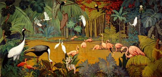 Untitled mural by Jessie Arms Botke, 1953, oil with gold leaf on canvas, 82½  x 173½. Courtesy The Irvine Museum, Irvine, California.