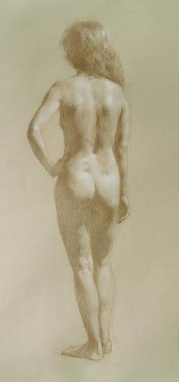Standing Nude Back Study by Sadie Valeri, 18 x 24, white chalk and colored pencil on buff paper.