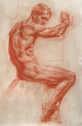 Seated Male by Rob Liberace, chalk pencil drawing, 36 x 48.