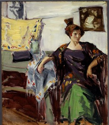Spanish Shawl by Meta Cressey, 1914, oil painting on board, 18 x 15. Courtesy The Irvine Museum, Irvine, California.