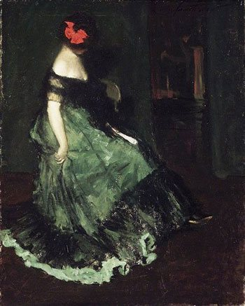 The Red Bow by Charles Webster Hawthorne, circa 1902, oil on canvas.