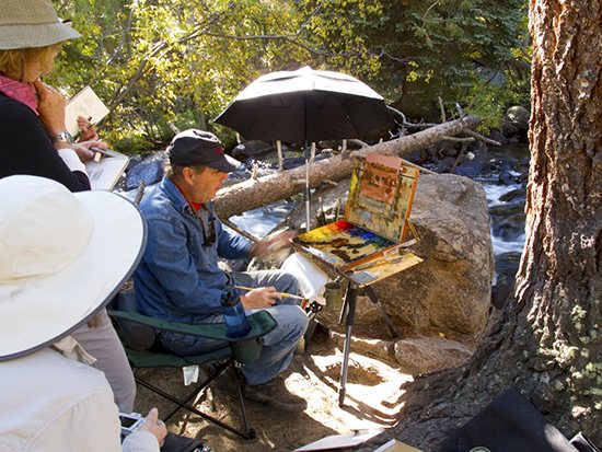 Teaching our plein air painting workshop in Rocky Mountain National Park last September.