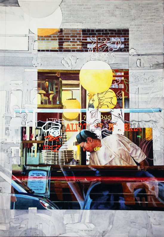 Alioto's Pizzeria, watercolor painting by Robin Erickson