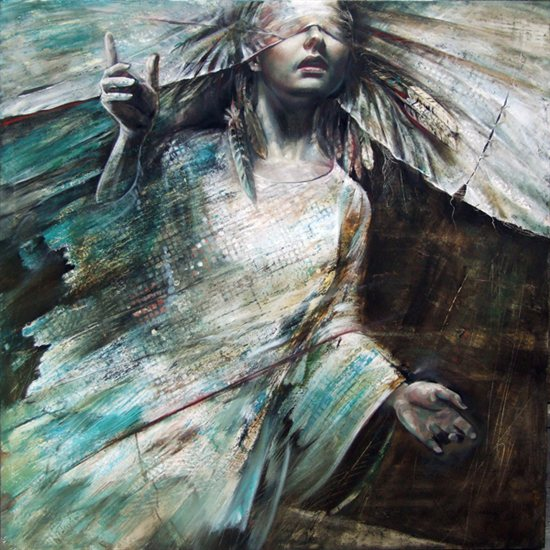 Mixed media painting by Asghar Gonchehpour, from the Sufi Dance series