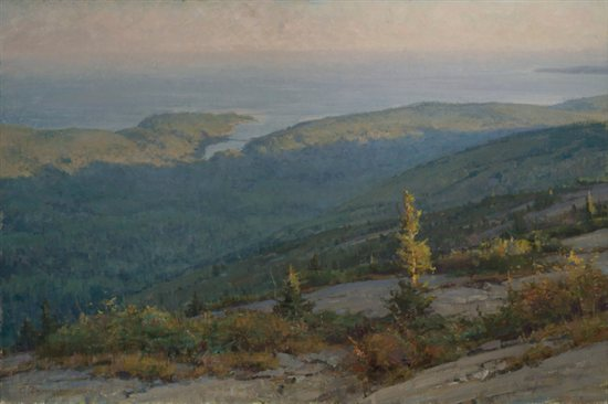View from Cadillac Mountain - Otter Cove by Clyde Aspevig, oil on canvas 24 x 36.