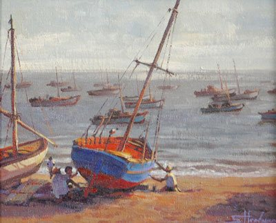 """Am I a fisherman?"" You've got a boat, you head out to sea, you catch fish, and you come home. The question answers itself. Peruvian Fisherman by Steve Henderson."