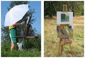 Plein air painting equipment placement.