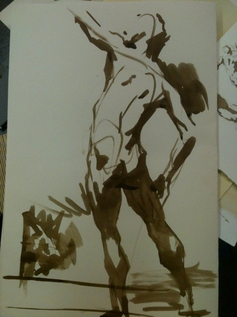 A sketch of a figure mid-motion by Robert Liberace.