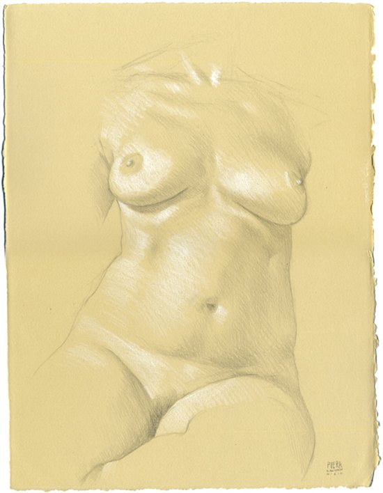 Drawing of Piera's torso by Daniel Maidman.