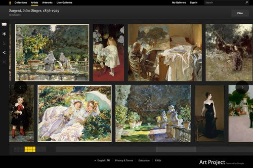 You can create galleries of a single artist or of works you love from all over the world.