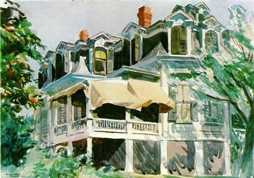 Mansard Roof by Edward Hopper, 1923, watercolor painting.