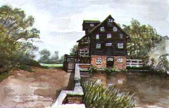 Houghton's Mill by Norman Rockwell, watercolor painting.