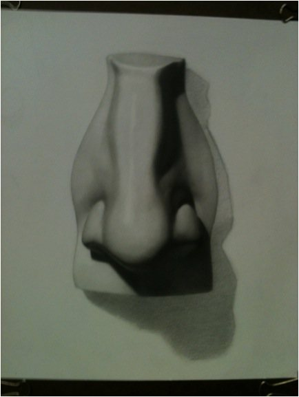 Darren Kingsley's graphite pencil drawing of a nose.