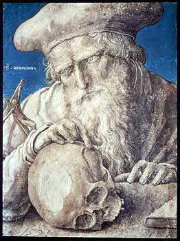 Head of St Jerome pointing at a skull Lucas van Leyden. 1521.  © Ashmolean Museum, Oxford