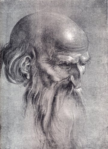 Head of Apostle Looking Downward by Albrecht Dürer, drawing, 1508.