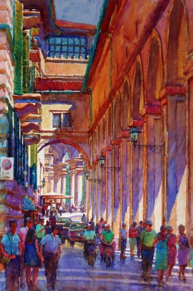 From the Ponte Vecchio to the Uffizi 2002, watercolor, 60 x 40. By Carl Dalio