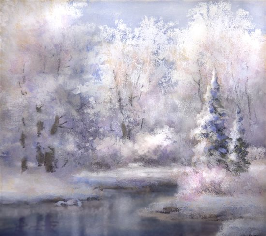 A wintry pastel landscape painting from Johannes Vloothuis.