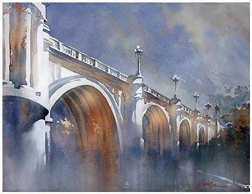North Broadway Bridge - Los Angeles by Thomas Schaller, watercolor on paper, 18 x 24. | Watercolor Art and Architecture