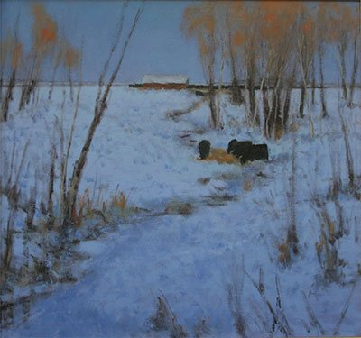 First Snow by Nancy Bush, 2008, oil painting, 28 x 30, Courtesy Nedra Matteucci Fine Art, Santa Fe, New Mexico.