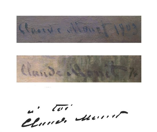 This set of signatures by master artist Monet shows how handwriting analysts will sometimes cross reference an artist's signature from past paintings and personal documents to verify the provenance of a piece.