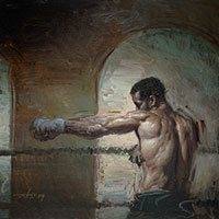 Finding His Reach by Steve Huston, 24 x 24, 2009. Courtesy Eleanor Ettinger Gallery.