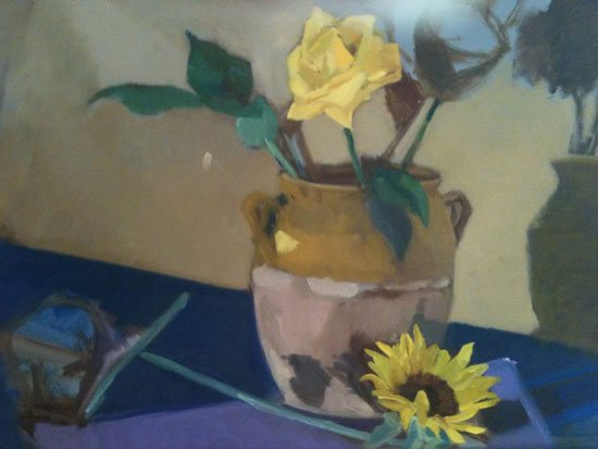 I went rapidly through the block-in process to start painting the focal point of this still life: the ceramic pot.