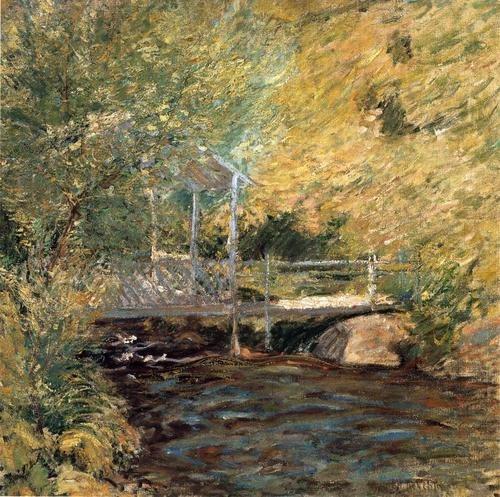 The Little Bridge by John Henry Twachtman, oil on canvas, c. 1896.