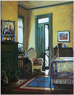 Reading Chair, Sims House by Ronald Lewis, 1996, acrylic, 18 x 14. Courtesy Bryant Galleries, Jackson, Mississippi, and New Orleans, Louisiana.