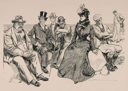 At the Beach by Charles Gibson, pen-and-ink drawing, 1901.