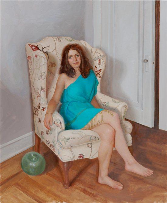 Catherine Inside by Kristin Kunc, oil on linen, 44 x 36, 2010.