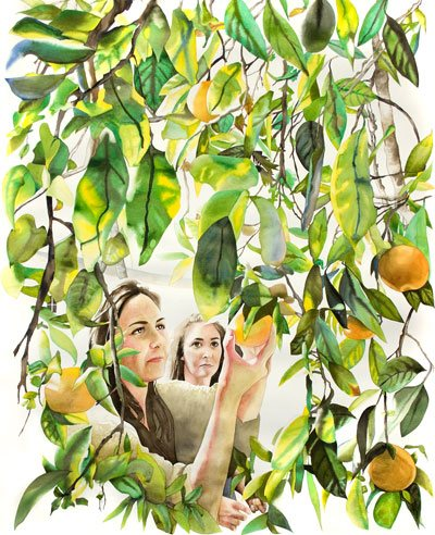 Picking Oranges in Grandpa's Yard by Allison Maletz, watercolor painting.