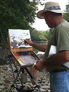 Chuck Marshall teaching a painting workshop.